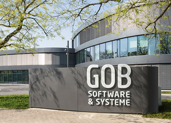 The image shows the outside view of the GOB building