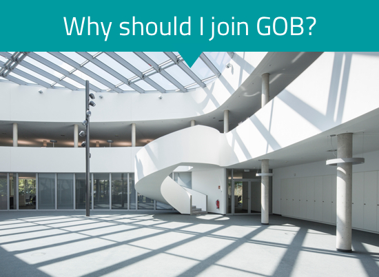 The image shows the GOB building from the inside.